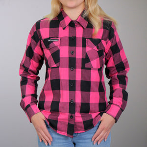Hot Leathers Flannel Long Sleeve Black & Pink Ladies