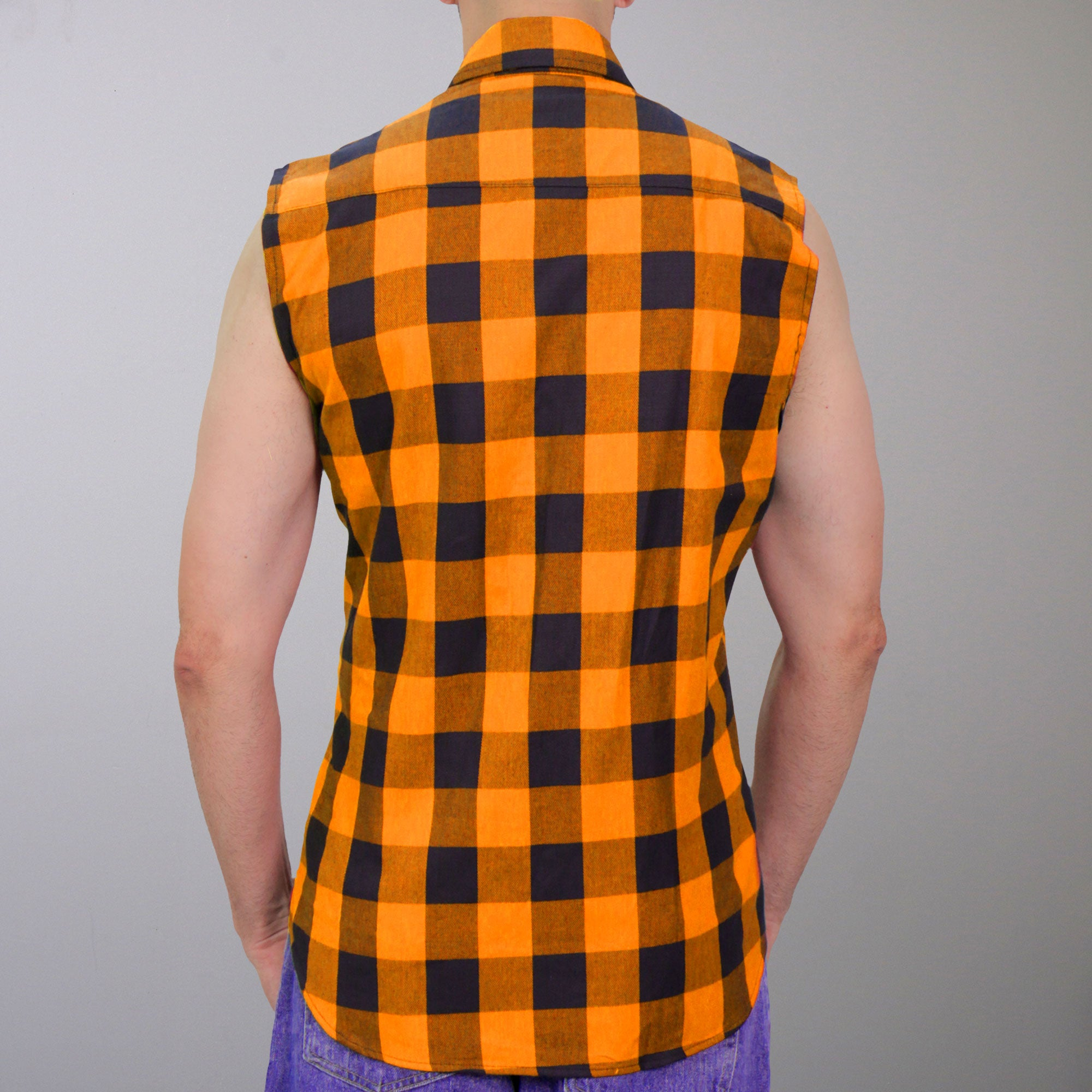 Hot Leathers Flannel No Sleeve Black & Orange