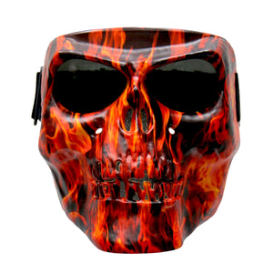 Hot Leathers Flame Skull Polypro Face Mask with Smoke Lenses