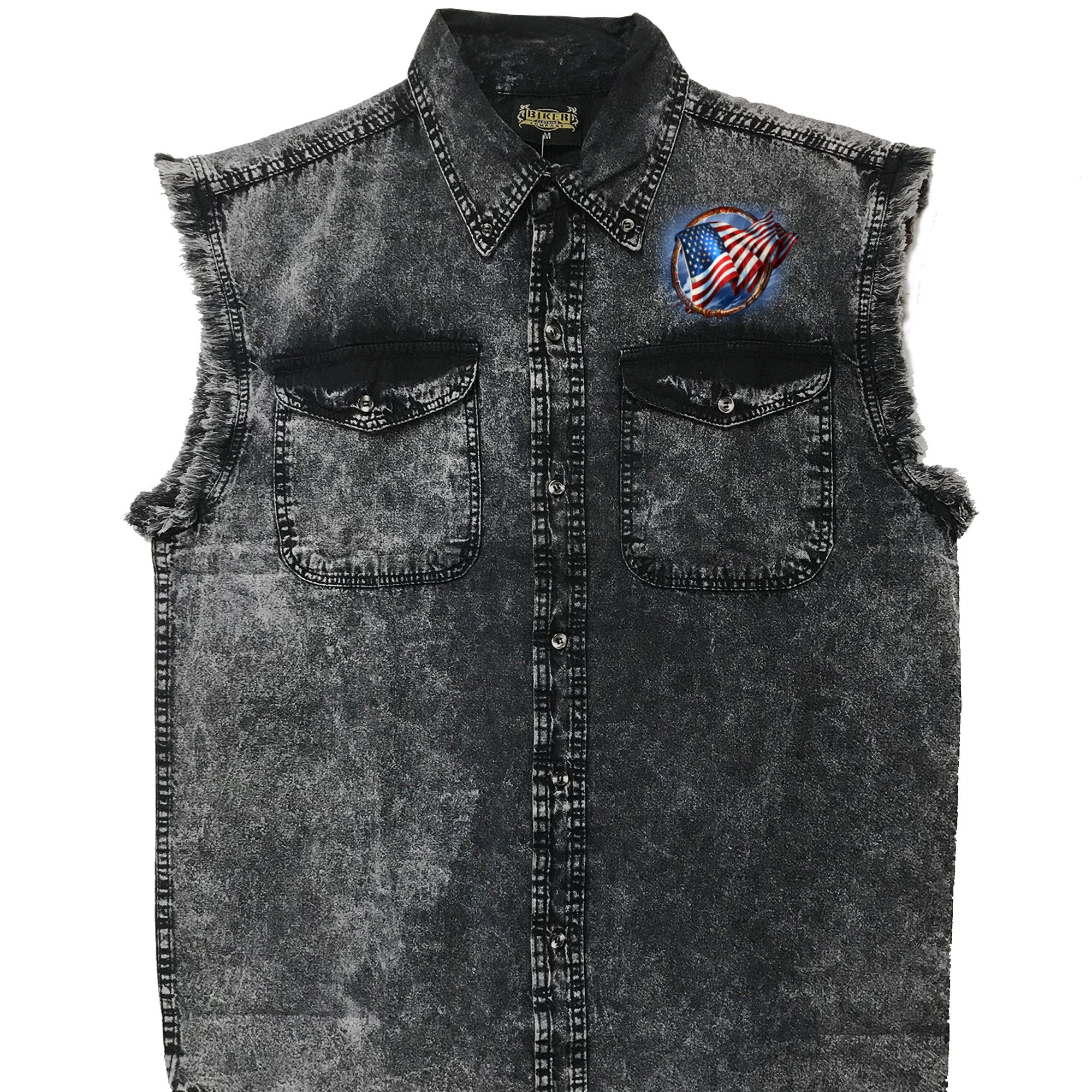 Hot Leathers Hoop Eagle Dyed Sleeveless Denim