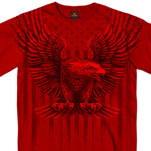 Hot Leathers Short Sleeve Upwing Eagle Red