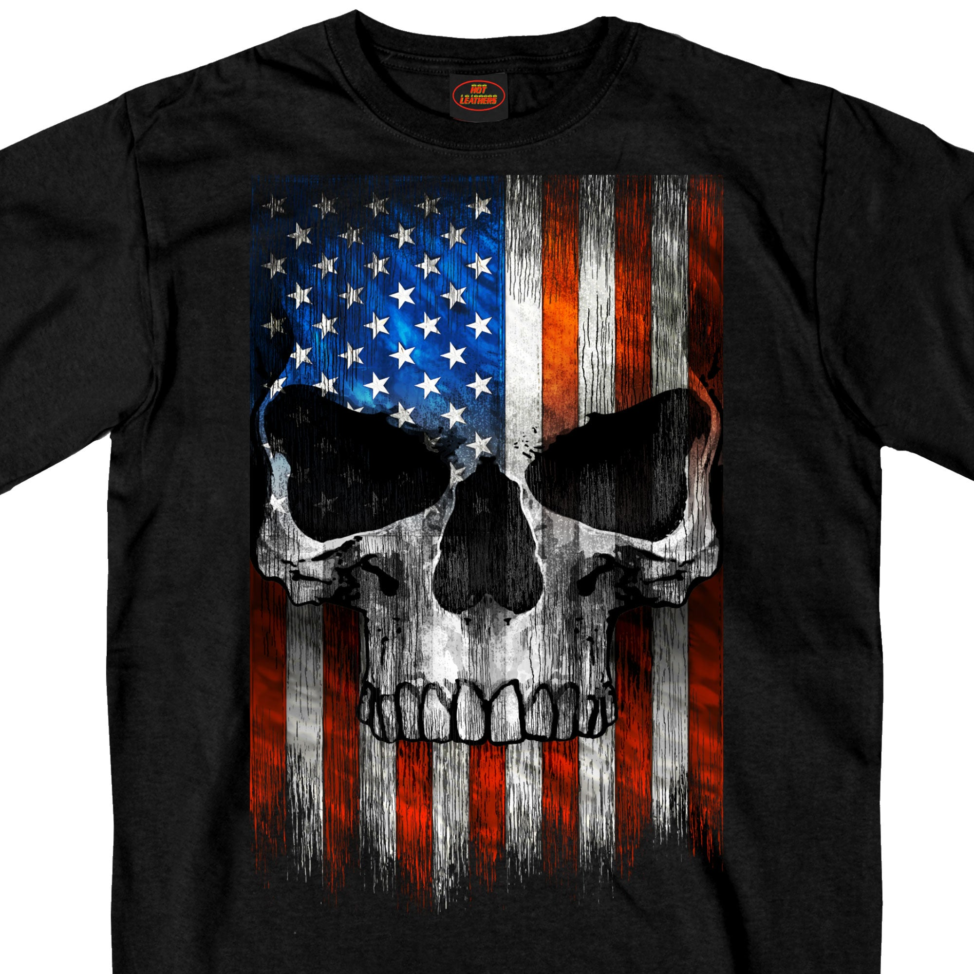 Hot Leathers Short Sleeve Patriotic Skull Shirt
