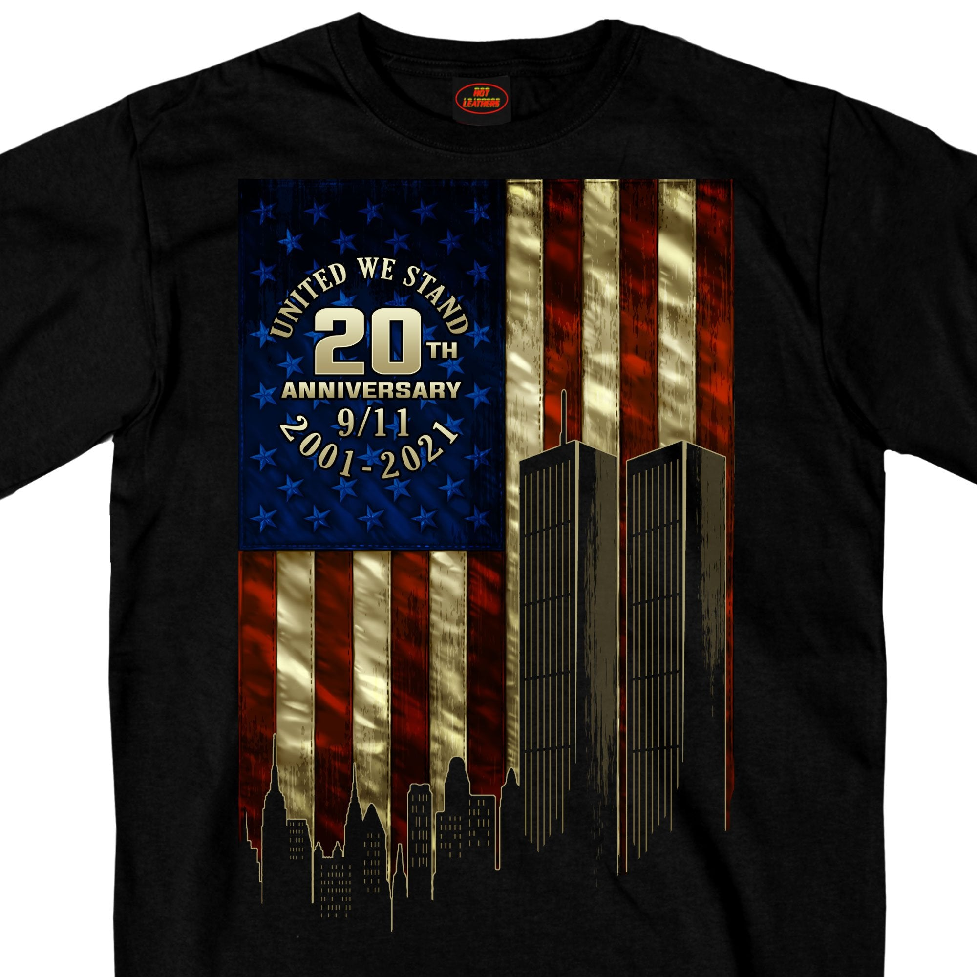 Hot Leathers 9-11 Skyline And Flag T-Shirt Masswerks Store