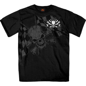 Hot Leathers Checkered Flag Skull T-shirt