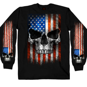 Hot Leathers Long Sleeve Patriot Skull