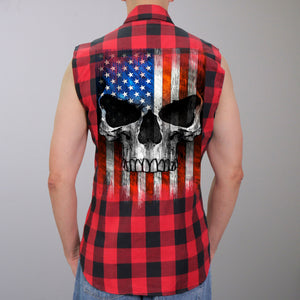 Hot Leathers Patriot Skull Sleeveless Flannel