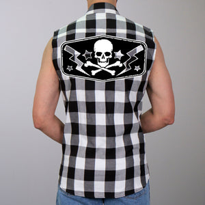 Hot Leathers Skull Bolts Sleeveless Flannel