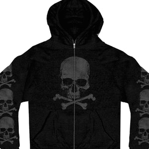 Hot Leathers Skull and Crossbones Zipper Hoodie