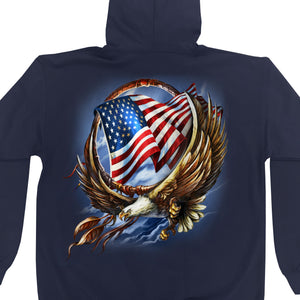Hot Leathers Hoop Eagle Navy Hooded Sweatshirt