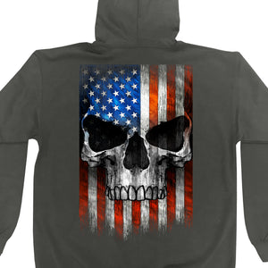 Hot Leathers Patriotic Skull Charcoal Zip Up Hooded Sweatshirt
