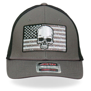 Hot Leathers Gray Skull Flag Trucker Hat