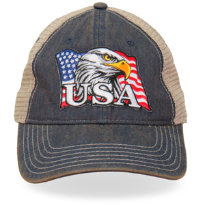 Hot Leathers Eagle Head Flag Trucker Hat