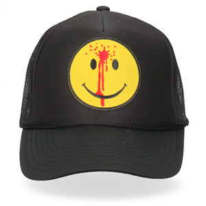 Hot Leathers Trucker Hat Smiley Face Bullet