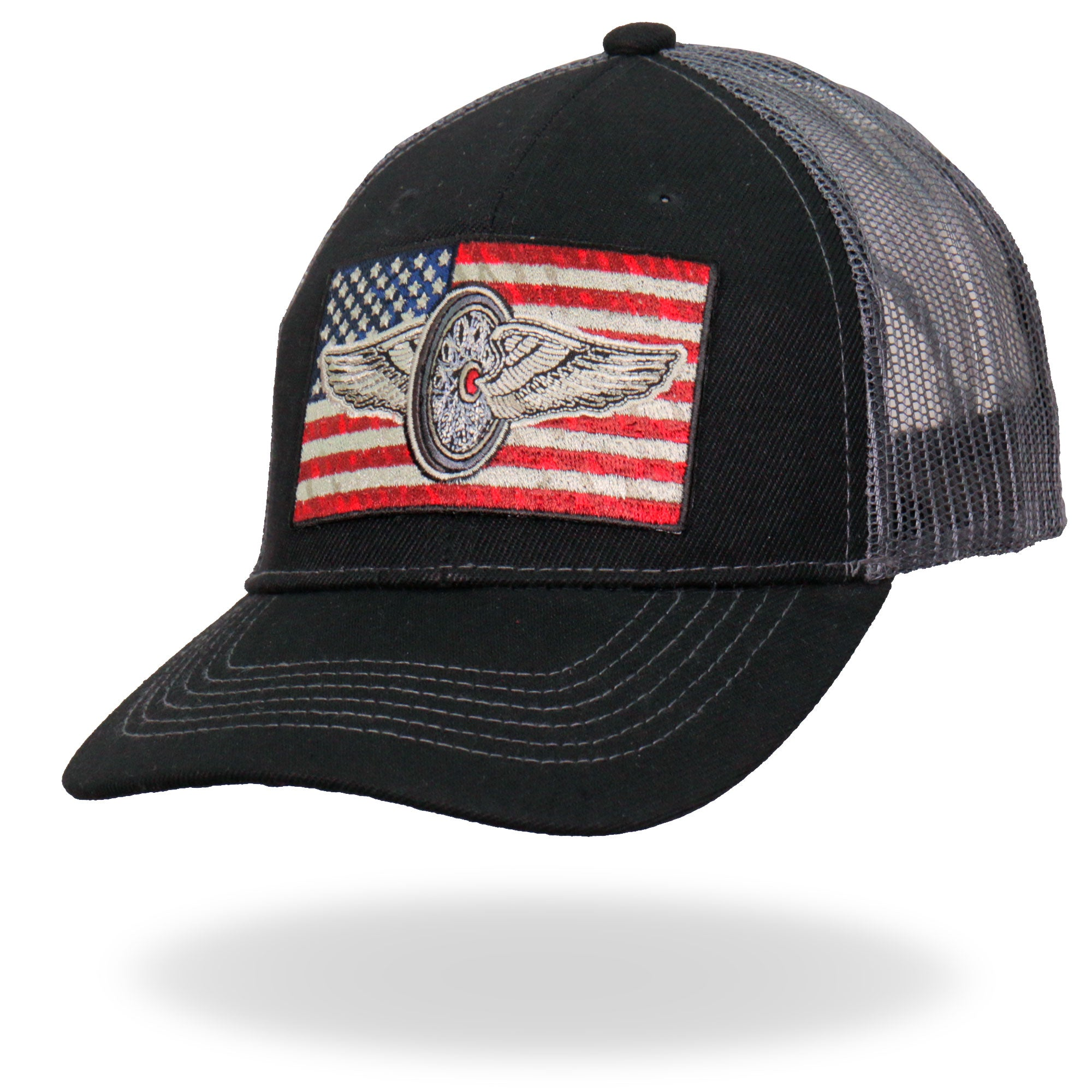Hot Leathers Flying Wheel Flag Trucker Hat