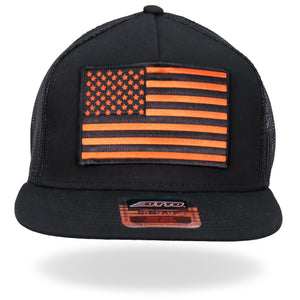 Hot Leathers Orange USA FLAG Snapback