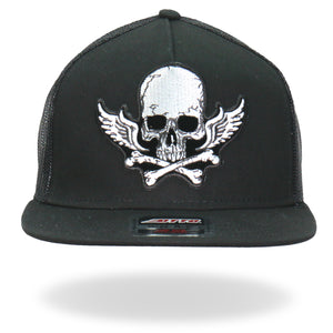 Hot Leathers Skull Bones Wings Snapback