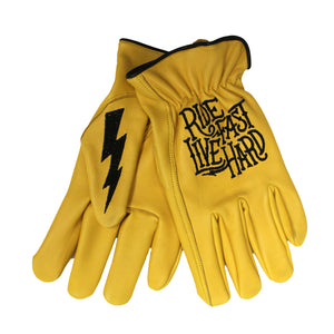 Hot Leathers Glove Deerskin Driver Bolt Gold