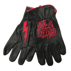 Hot Leathers Glove Deerskin Driver Bolt Black