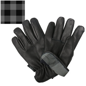 Hot Leathers Glove Deerskin Grey/Black Flannel Lined