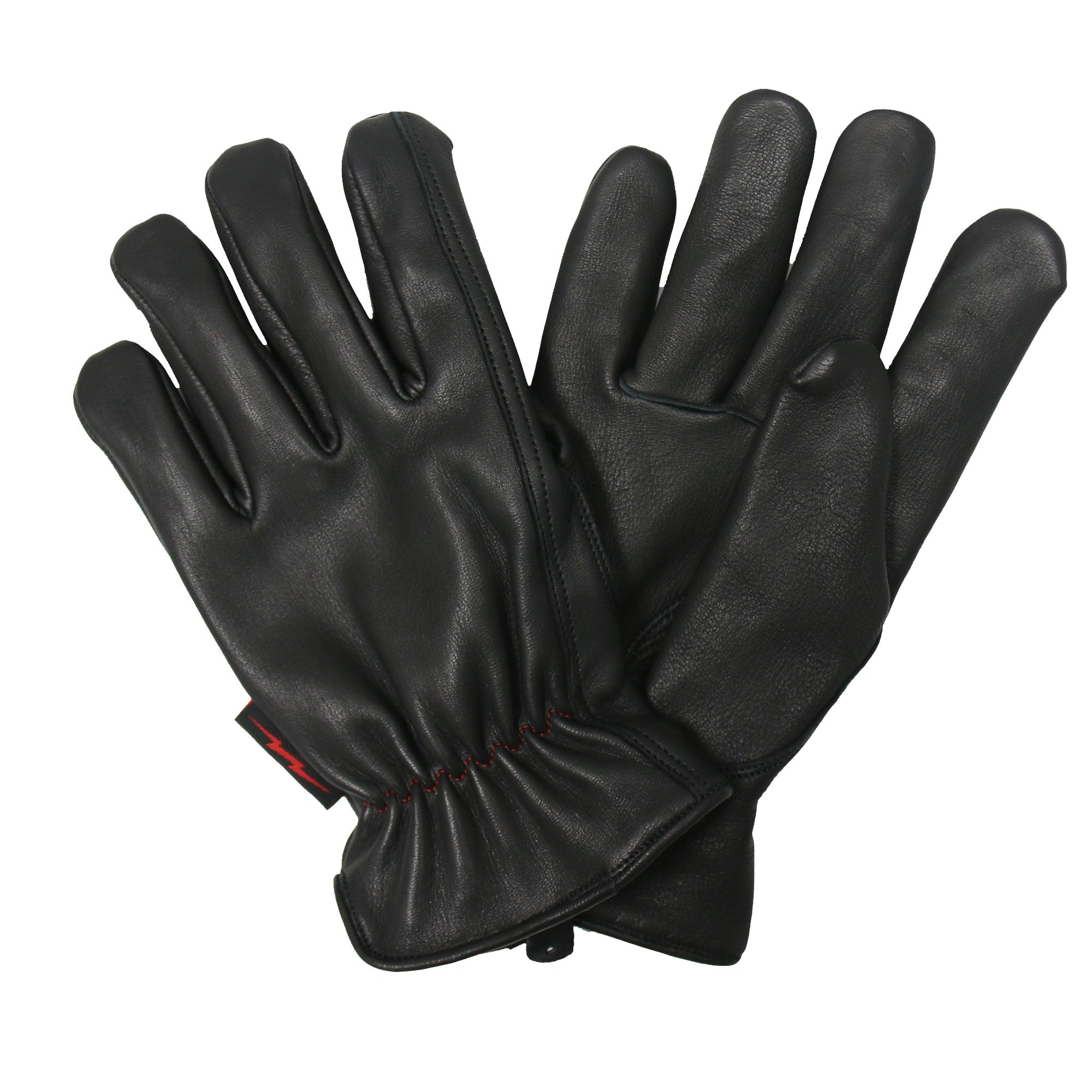 Hot Leathers Glove Deerskin Red/Black Flannel Lined