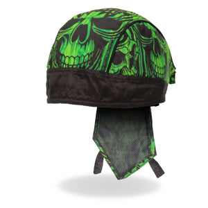 Hot Leathers Headwrap Over the Top Skulls Green