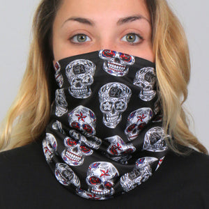 Hot Leathers Sugar Skulls Neck Gaiter Mask