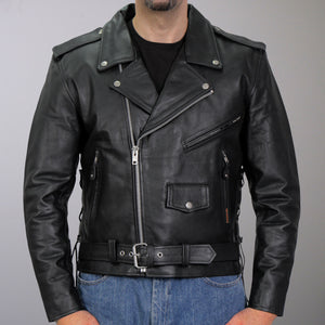 Hot Leathers Classic Motorcycle Leather Jacket w/ Zip Out Lining