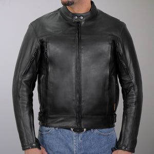 Hot Leathers Men's Leather Vented Scooter Jacket