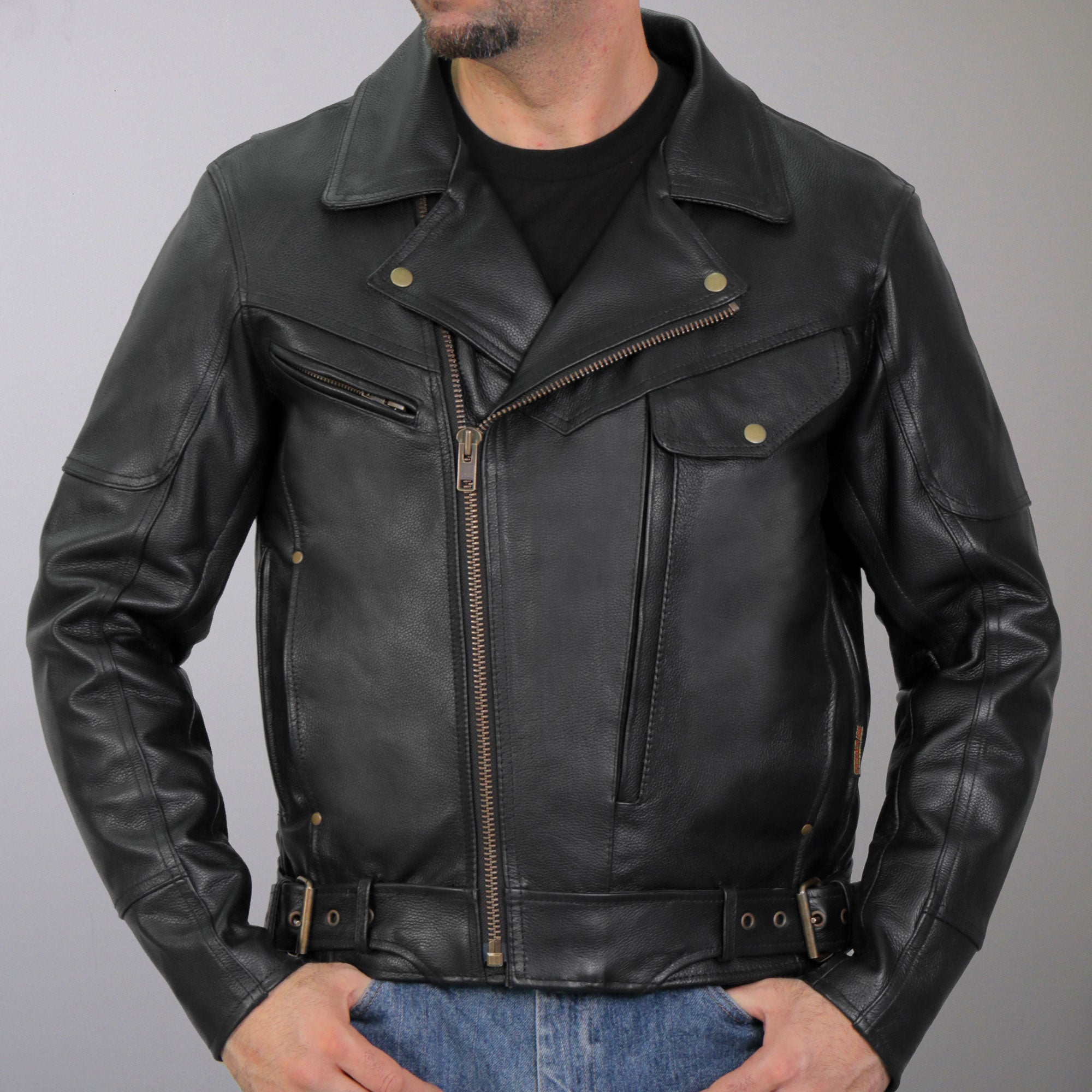 Hot Leathers Men's Leather Side Belt Leather Jacket