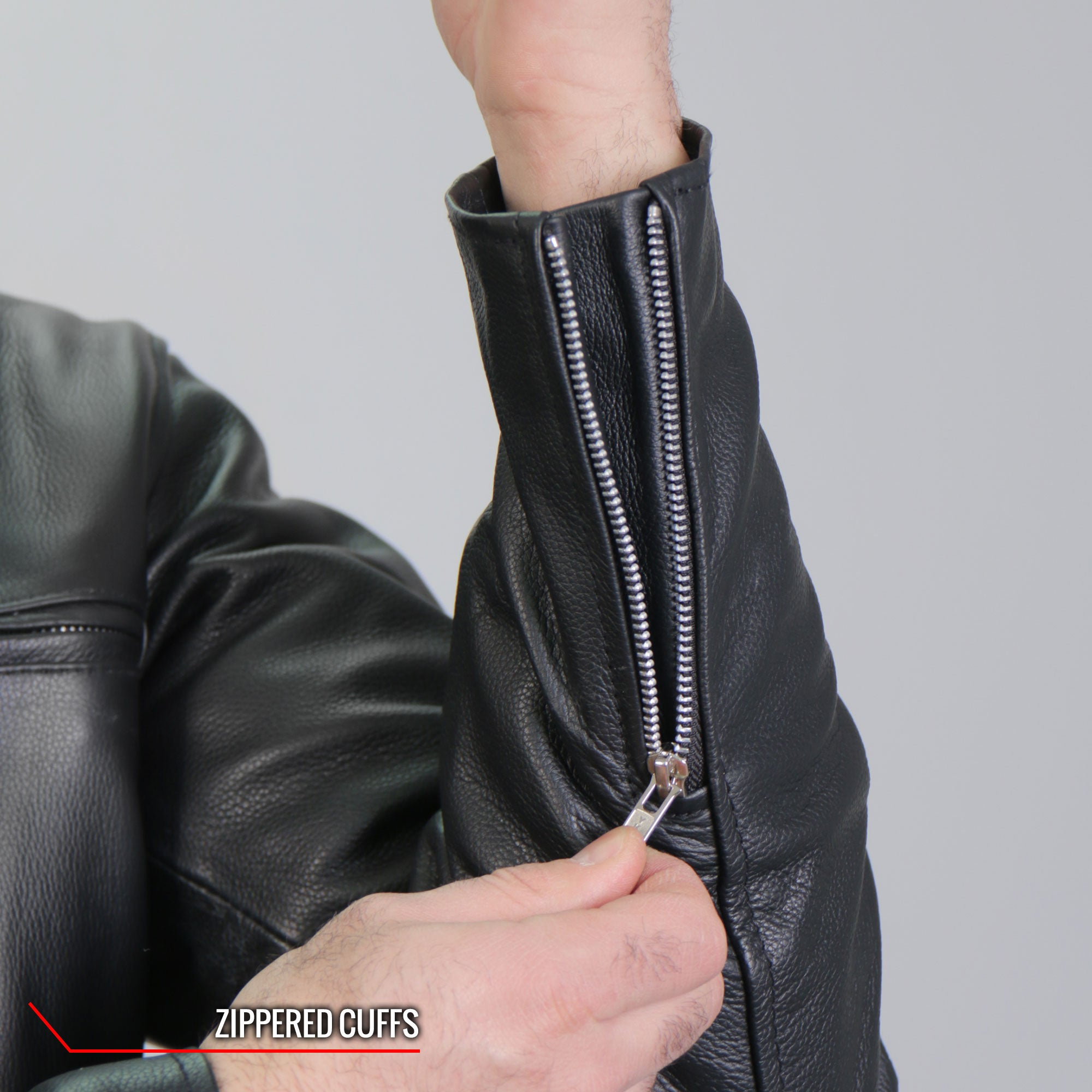 Hot Leathers Armored Leather Jacket with Flannel Lining and Hood