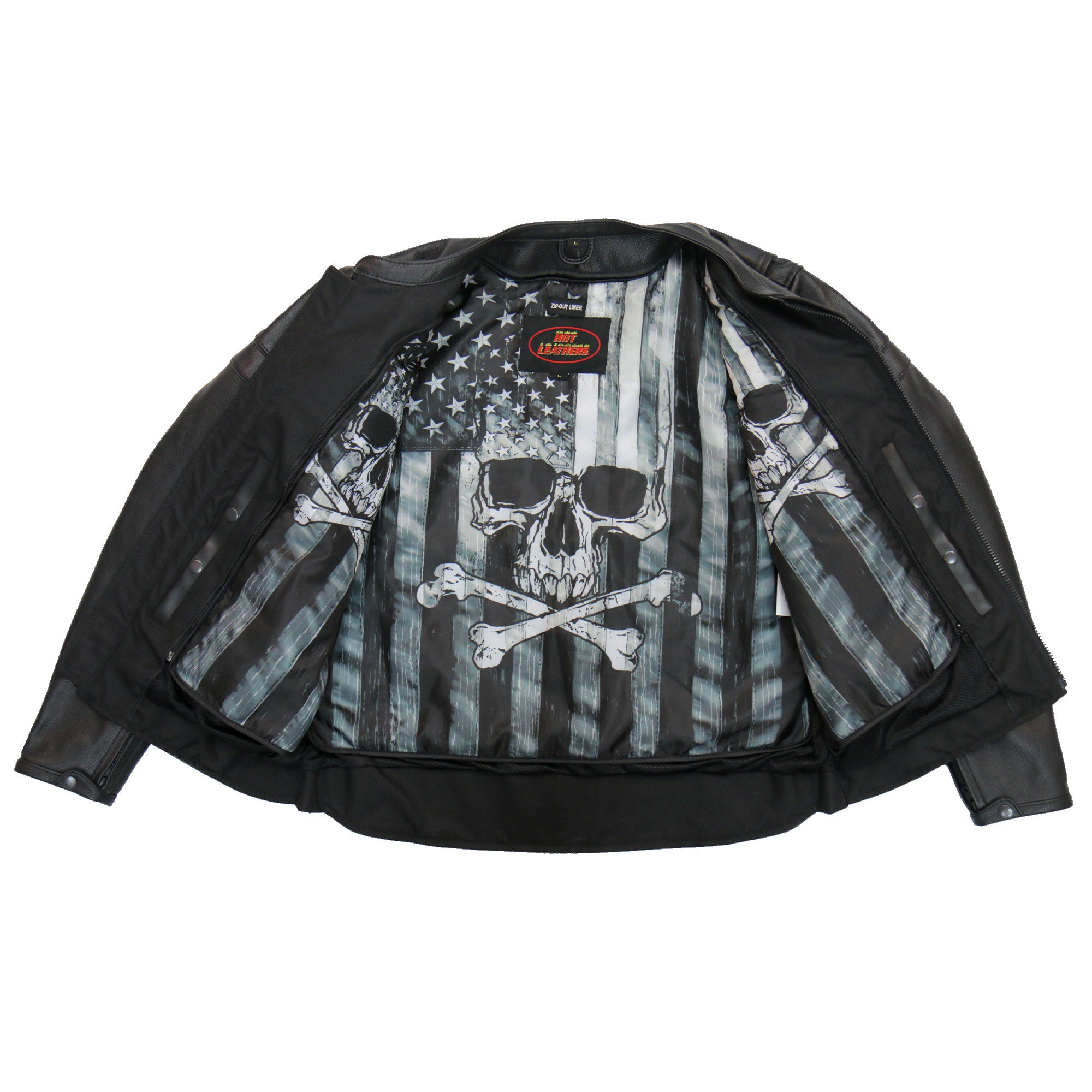 Hot Leathers  Skull Flag lined Carry Conceal Tall Men's Leather Jacket w/ Double Piping