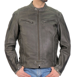 Hot Leathers Men's Distressed Grey Armor Carry Conceal Leather Jacket