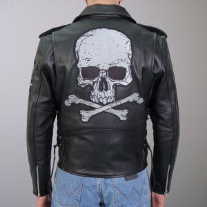 Hot Leathers Skull and Crossbones Motorcycle Leather Jacket