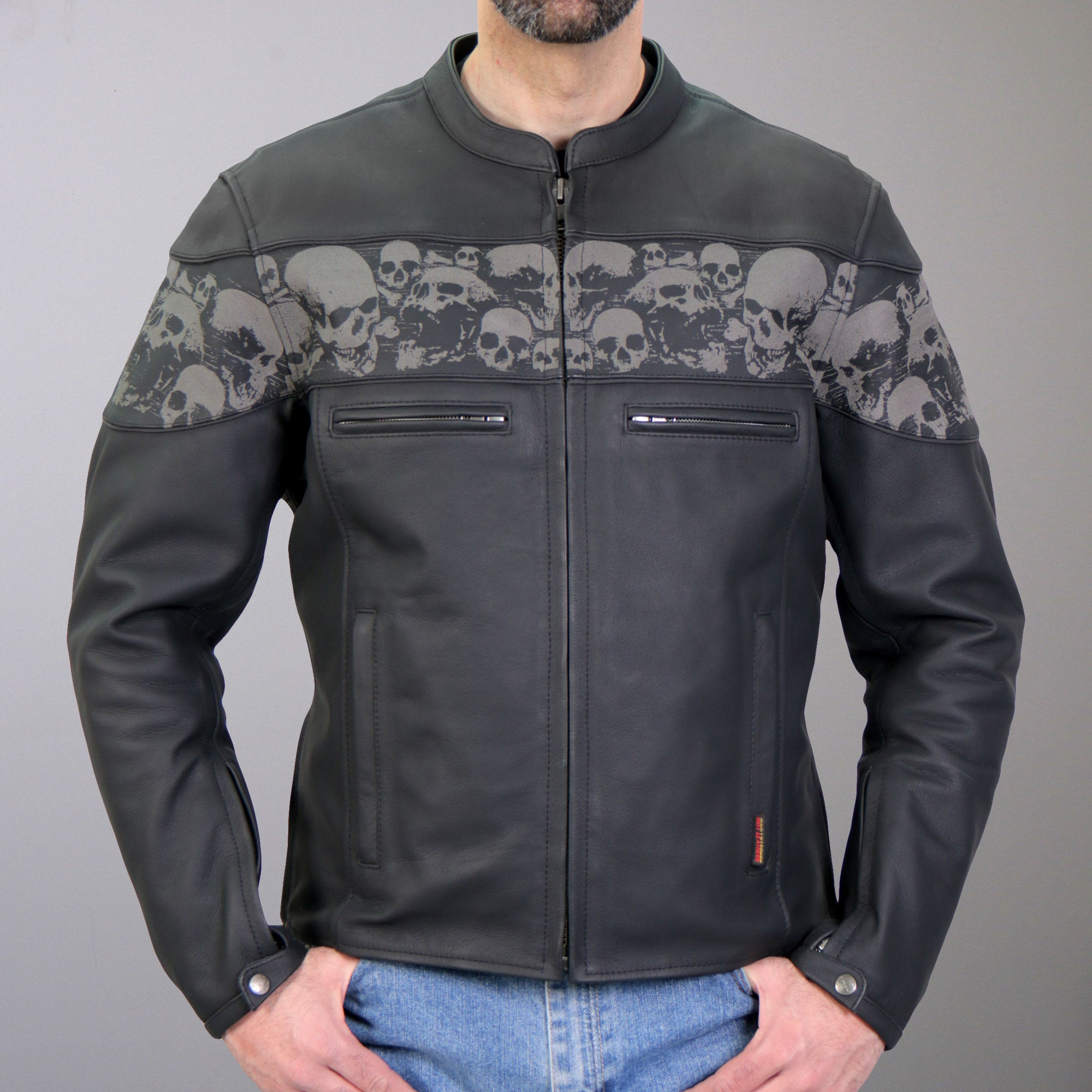 Hot Leathers Reflective Skull Printed Leather Jacket With Concealed Carry Pockets