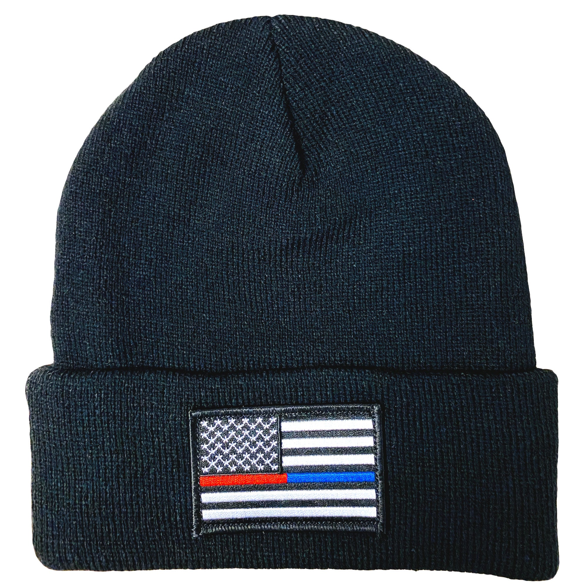Hot Leathers Knit Beanie Flag Thin Red/Blue
