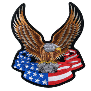 "Hot Leathers Eagle and Flag 10"" Patch"