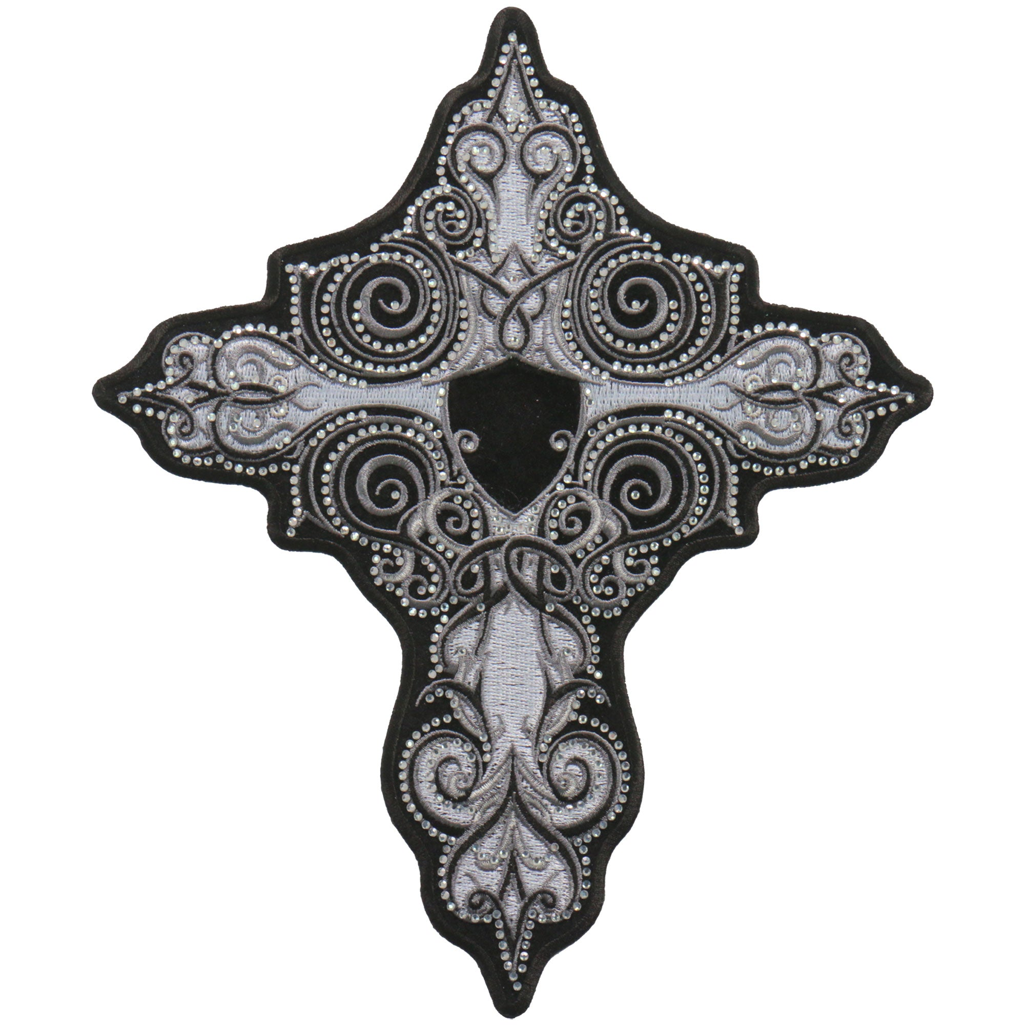 "Hot Leathers 5"" Rhinestone Cross Patch"