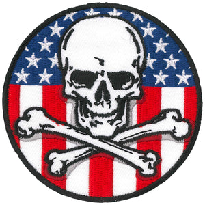 Hot Leathers Patch Flag Skull Circle 3""
