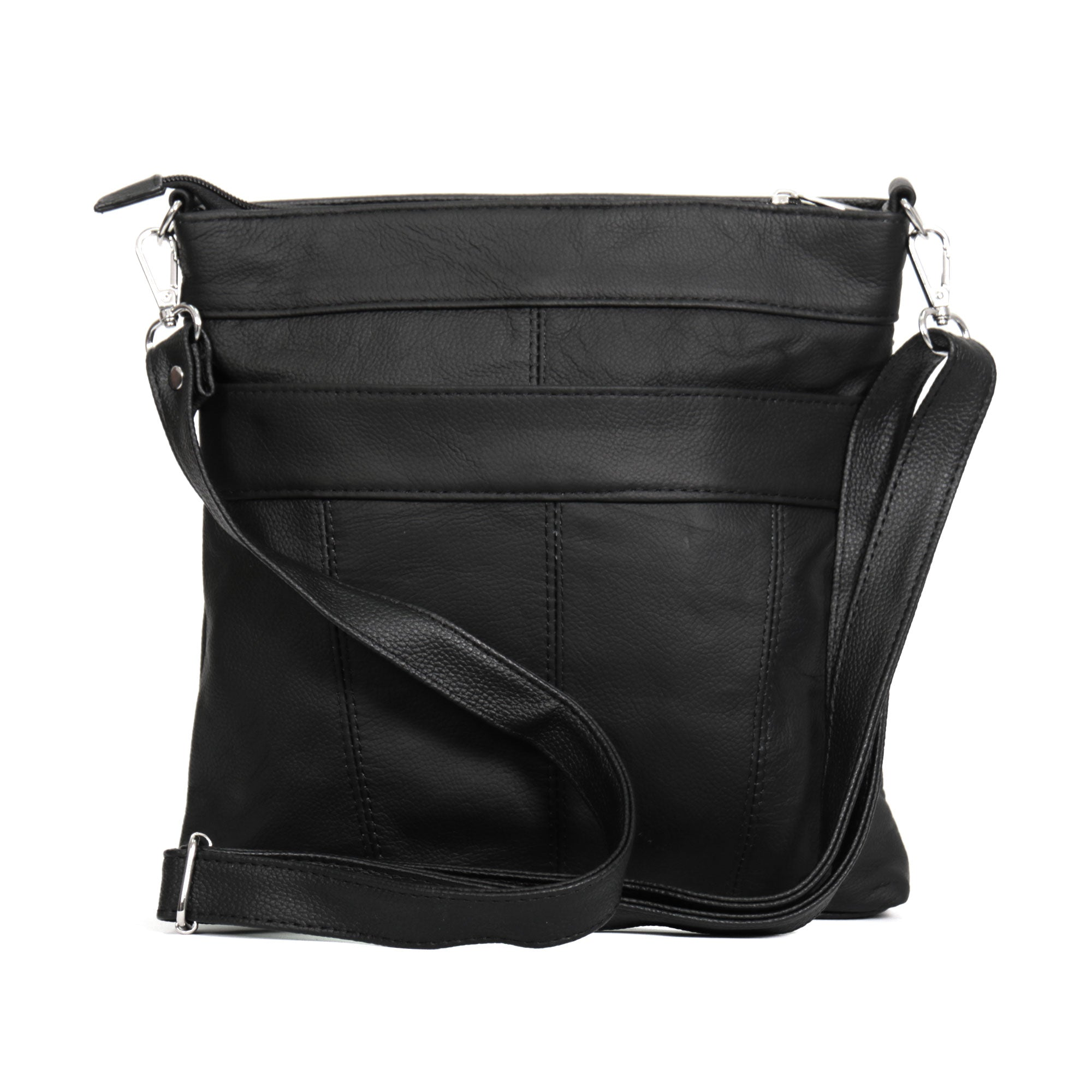 Hot Leathers Large Leather Purse with Three Side Zippers