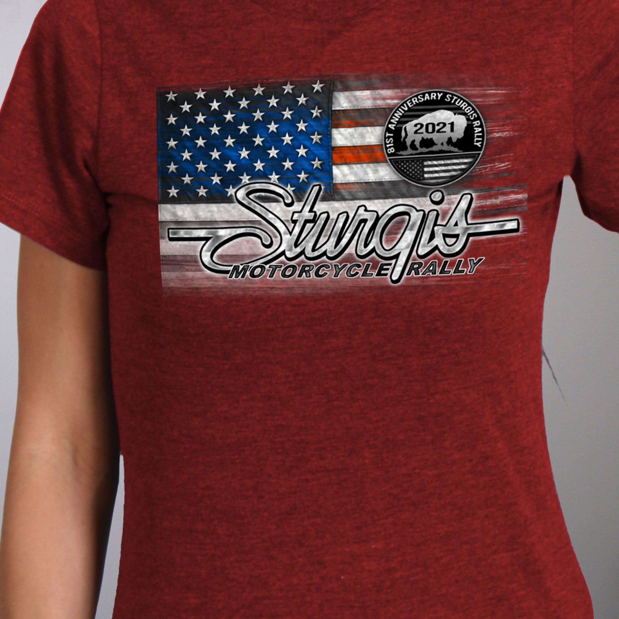 Sturgis 2021 Motorcycle Rally Heartbeat Flag T shirt