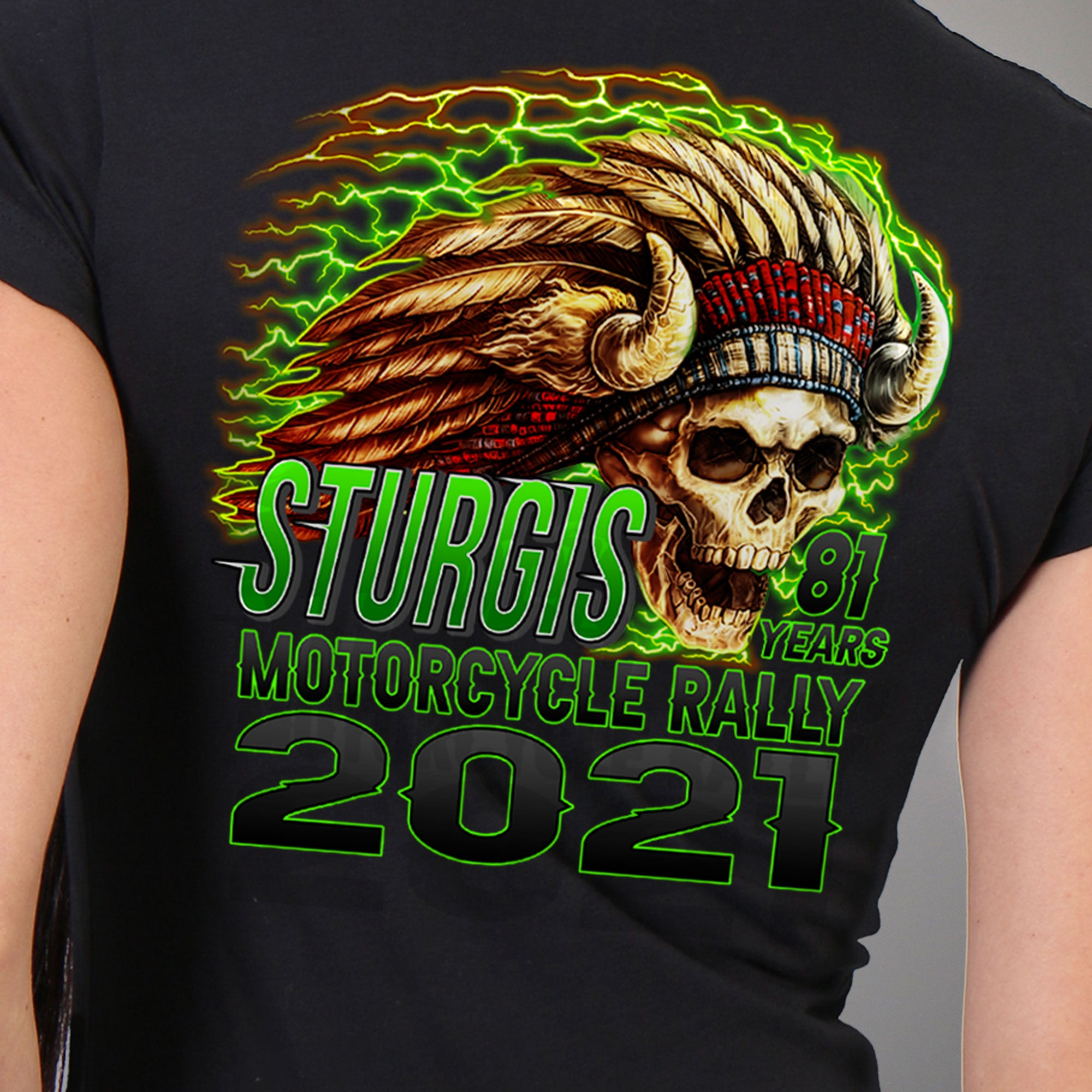 Sturgis Motorcycle Rally 2021 Web Exclusive Skeleton Chief Lady Short Sleeve