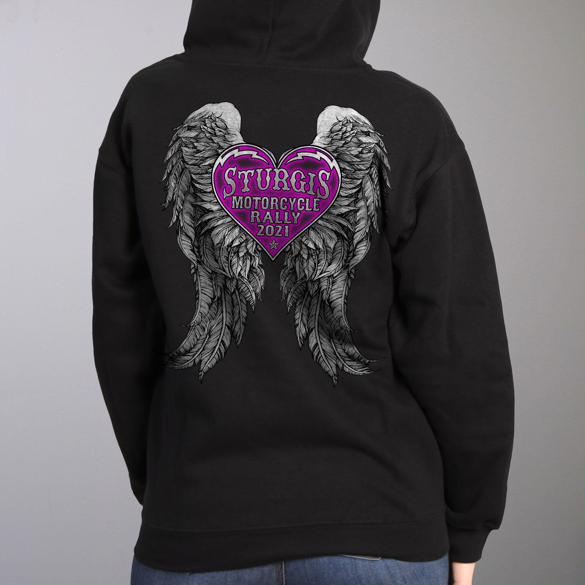 Sturgis 2021 Motorcycle Rally Heart Angel Wings Sweatshirt