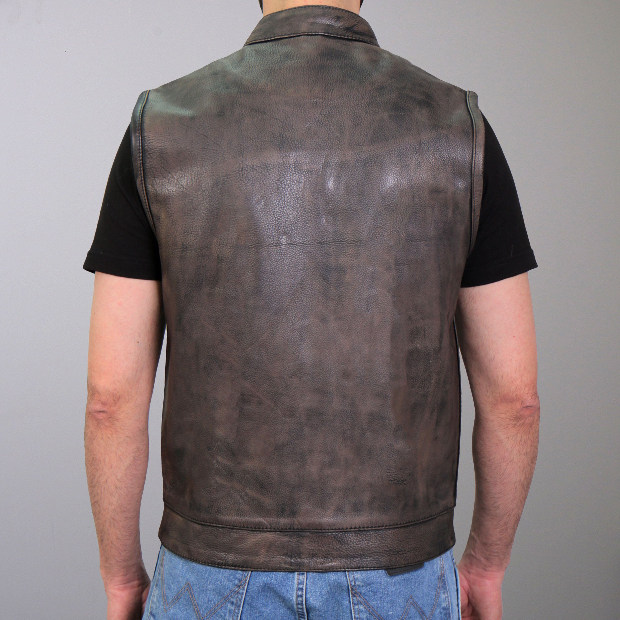 Hot Leathers Distressed Brown Leather Motorcycle Club Vest