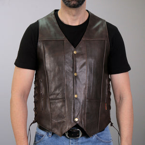Hot Leathers Retro Brown Vest Ten Pocket Carry Concealed