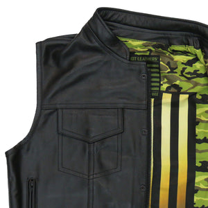 Hot Leathers Vest Camo Flag Liner Carry Conceal