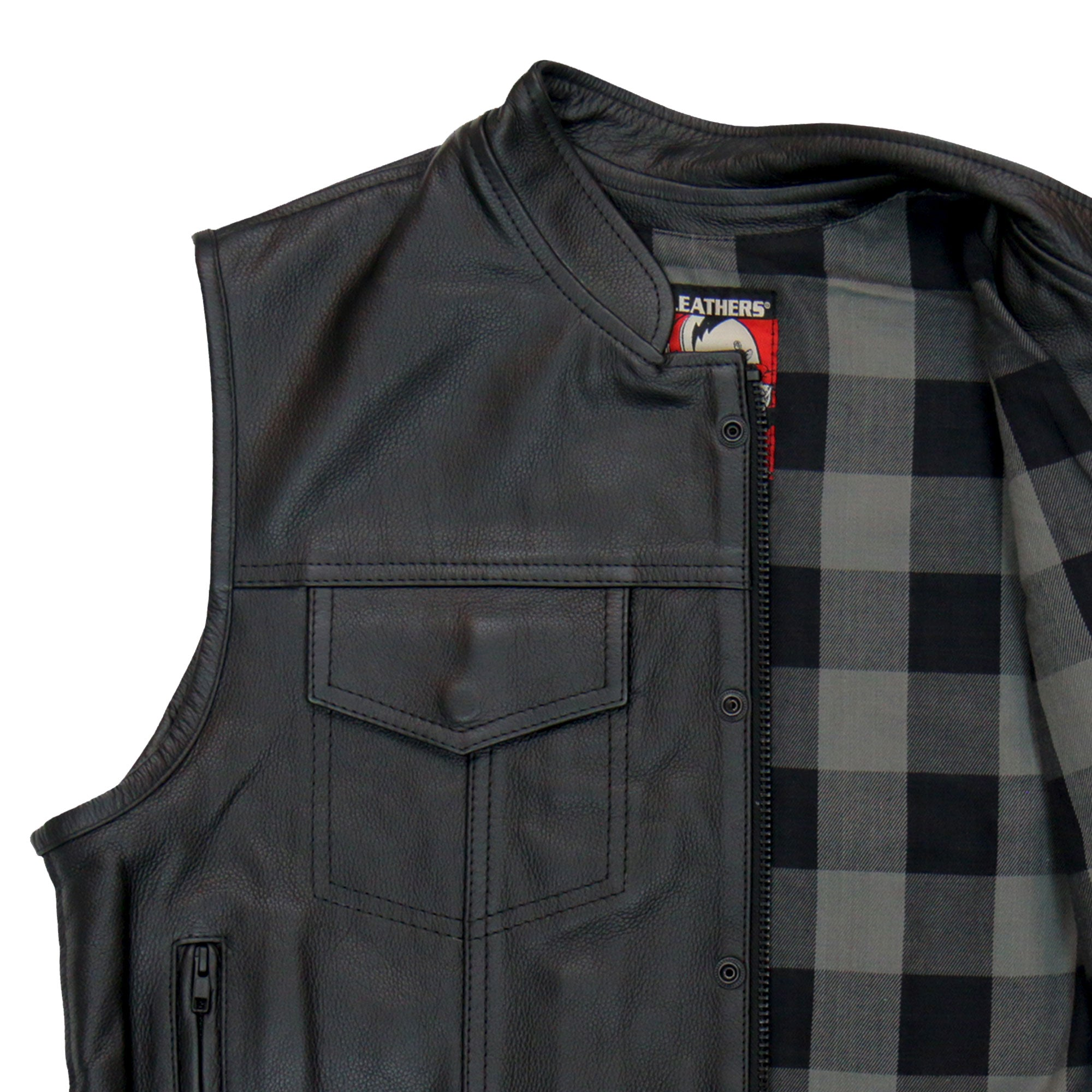 Hot Leathers Vest Flannel Gray Liner Carry Conceal