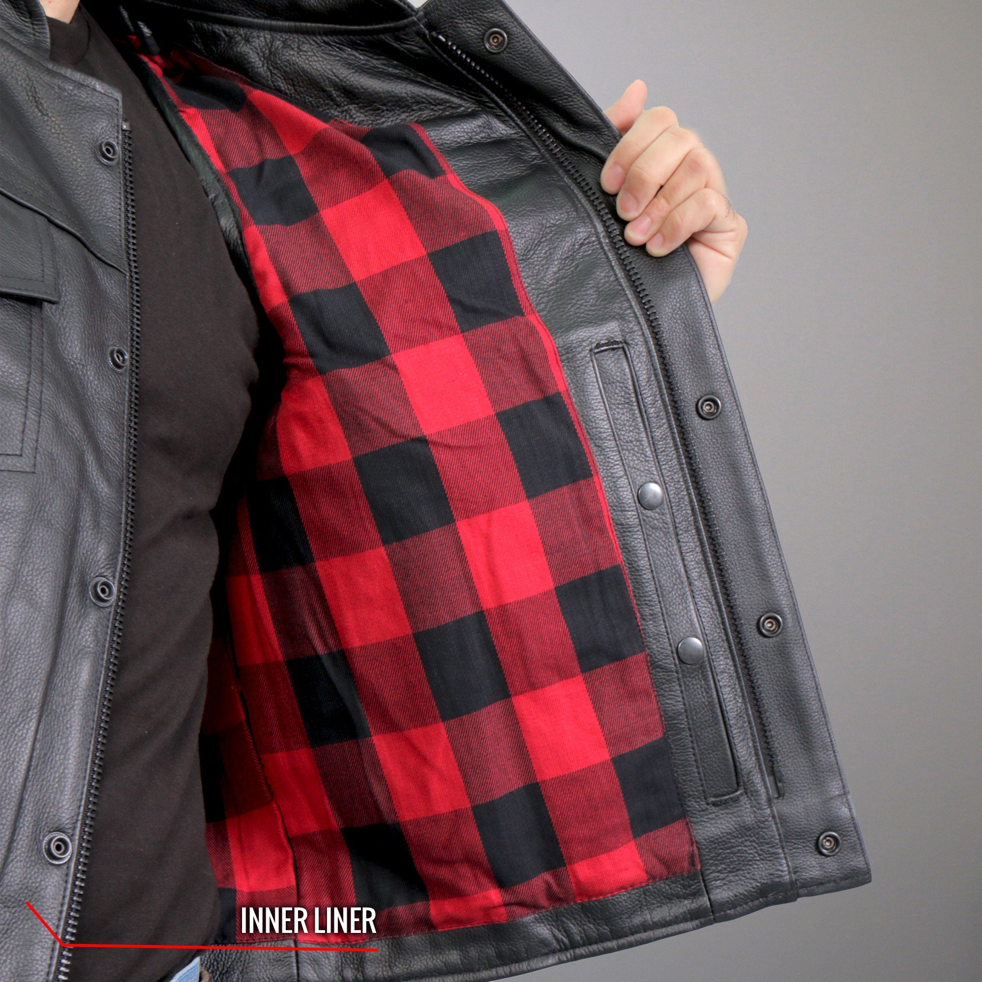 Hot Leathers Red Flannel Lined Leather Vest with Carry Conceal