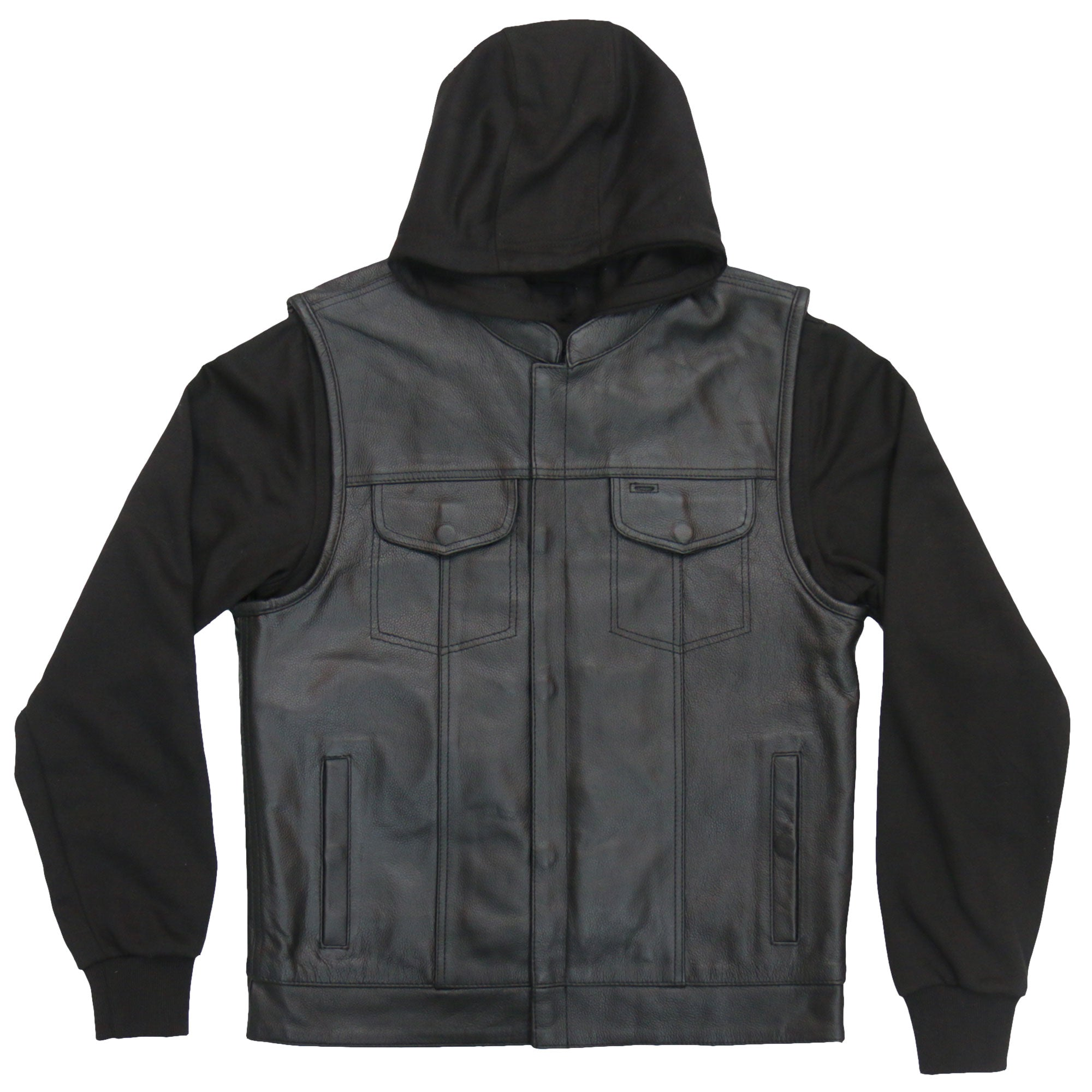 Hot Leathers Men's Leather Vest with Hoody