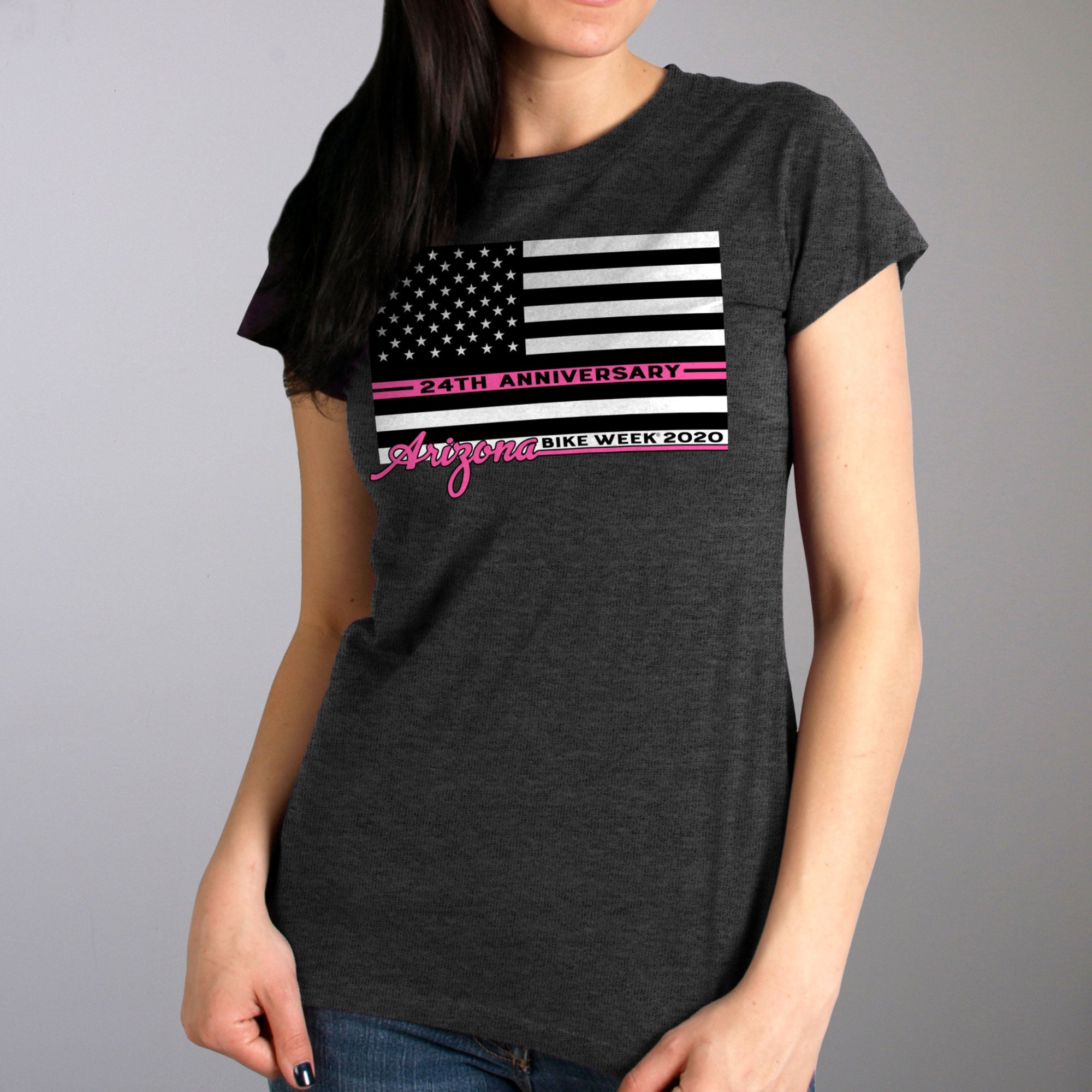 Official 2020 Arizona Bike Week Pink Lines Ladies Shirt