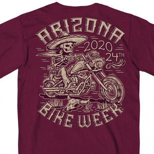 Official 2020 Arizona Bike Week Mexicali Maroon T-Shirt